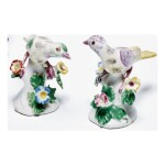 A PAIR OF BOW PORCELAIN FIGURES OF FINCHES CIRCA 1756