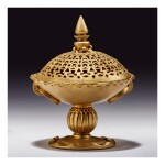 AN EXPERIMENTAL ROYAL WORCESTER RETICULATED GOLD-GROUND EARTHENWARE SMALL TAZZA AND COVER BY GEORGE OWEN DATED 1893