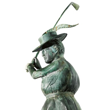 View 2. Thumbnail of Lot 14. VERY FINE AND RARE MOLDED FULL BODIED SHEET COPPER AND ZINC STANDING FEMALE GOLFER WEATHERVANE, CIRCA 1900.