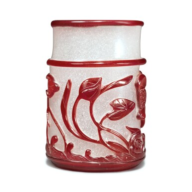 View 4. Thumbnail of Lot 56. A red overlay snowflake glass 'lotus pond' brushpot, Qing dynasty, 19th century.