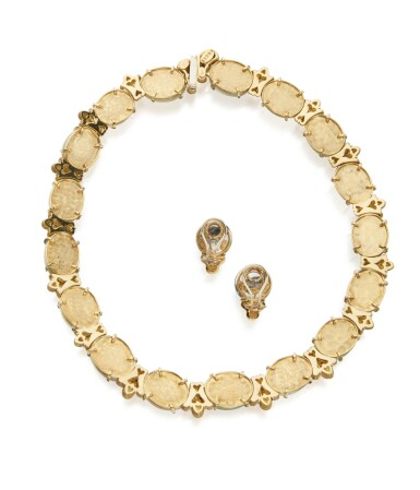 View 3. Thumbnail of Lot 45. GOLD AND MOONSTONE NECKLACE AND PAIR OF MOONSTONE AND DIAMOND EARCLIPS, HENRY DUNAY.