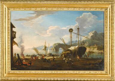 View 2. Thumbnail of Lot 10. JACOB DE HEUSCH | A capriccio harbour scene in a mediterranean bay.