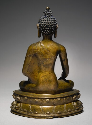 View 2. Thumbnail of Lot 326. A COPPER ALLOY FIGURE OF BUDDHA SHAKYAMUNI WITH COPPER INLAY,  TIBET, 14TH CENTURY.