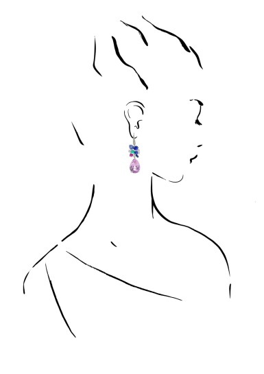 View 4. Thumbnail of Lot 24. MICHELE DELLA VALLE   PAIR OF GEM SET AND DIAMOND PENDENT EARRINGS.