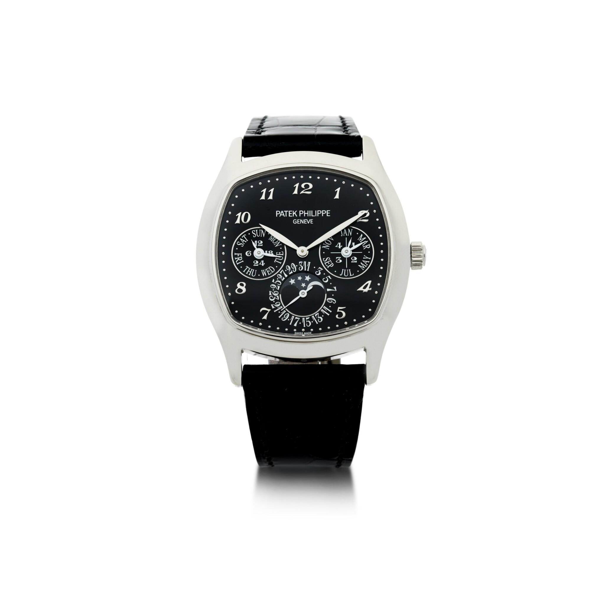 View full screen - View 1 of Lot 162. REFERENCE 5940G-010 A FINE WHITE GOLD CUSHION FORM AUTOMATIC PERPETUAL CALENDAR WRISTWATCH WITH MOON PHASES, CIRCA 2018.