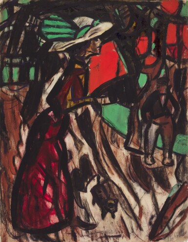 View 1. Thumbnail of Lot 47. Strassenszene mit einer Frau, Begegnungen (Street Scene with a Woman, Encounters) .