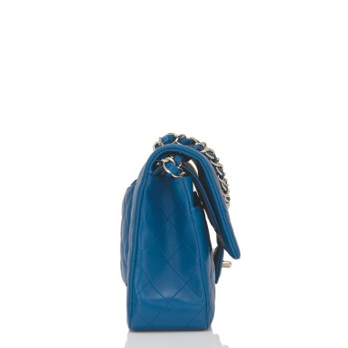View 3. Thumbnail of Lot 43. Chanel Blue Quilted Medium Classic Double Flap Bag of Lambskin Leather with Light Gold Tone Hardware.