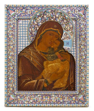 View 1. Thumbnail of Lot 253. An Impressive and large silver and cloisonné enamel icon of the Vladimirskaya Mother of God, Vasily Salamatin, Moscow, 1899-1908.