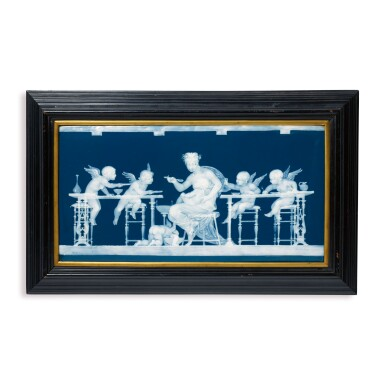 A MINTONS PÂTE-SUR-PÂTE PEACOCK-BLUE-GROUND RECTANGULAR PLAQUE, 'BANQUET OF LOVE' CIRCA 1890