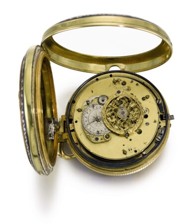 View 3. Thumbnail of Lot 26. SWISS | A GOLD AND ENAMEL QUARTER REPEATING WATCH WITH DOUBLE WATERFALL AUTOMATA AND JACQUEMARTS  CIRCA 1800.