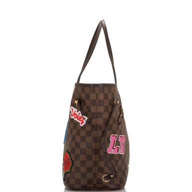 View 4. Thumbnail of Lot 86. Louis Vuitton Patches Neverfull MM of Damier Ebene Canvas with Polished Brass.