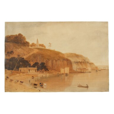 View 1. Thumbnail of Lot 382.  WILLIAM DANIELL | VIEW OF THE RIGHT BANK OF THE RIVER GANGES, NEAR CURRAH, DECEMBER 1788.
