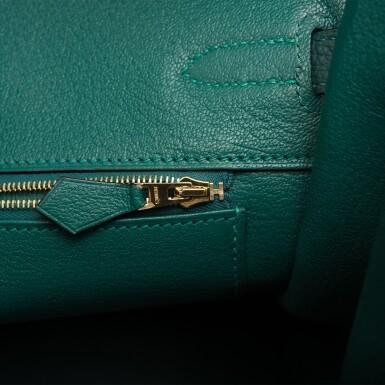 View 8. Thumbnail of Lot 31. Hermès Special Order Bicolor Black and Malachite Togo Birkin 35cm BGHW.