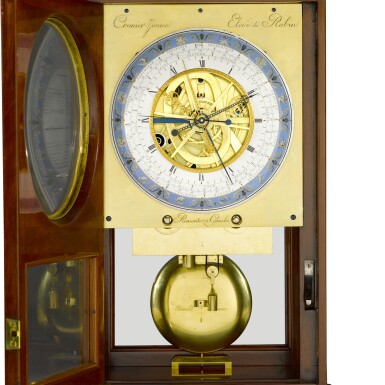 View 5. Thumbnail of Lot 60. A Consulate mahogany month-going table regulator with remontoire, equation of time and revolutionary and Gregorian calendars, Jean-Francois Cronier, Paris, dated 1800.