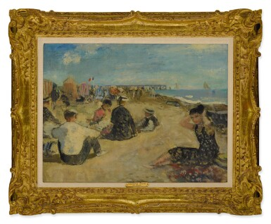 View 2. Thumbnail of Lot 2. FRANÇOIS GALL   EUGÉNIE, LE BÉBÉ ET LA FAMILLE GALL—PLAGE D'ARCACHON   .