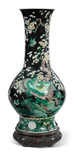 A FAMILLE-NOIRE 'BIRD AND FLOWER' PEAR-SHAPED VASE,  THE PORCELAIN 18TH CENTURY, THE ENAMELS LATER-ADDED