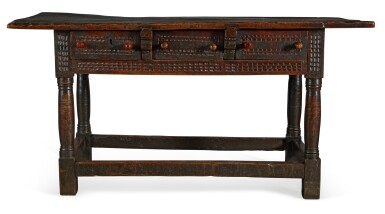 View 2. Thumbnail of Lot 32. A SPANISH CARVED WALNUT SIDE TABLE, 17th CENTURY.