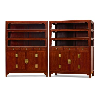 View 1. Thumbnail of Lot 75. A RARE AND LARGE PAIR OF HUANGHUALI SQUARE-CORNER DISPLAY CABINETS, WANLIGUI 17TH CENTURY | 十七世紀 黃花梨萬曆櫃成對.