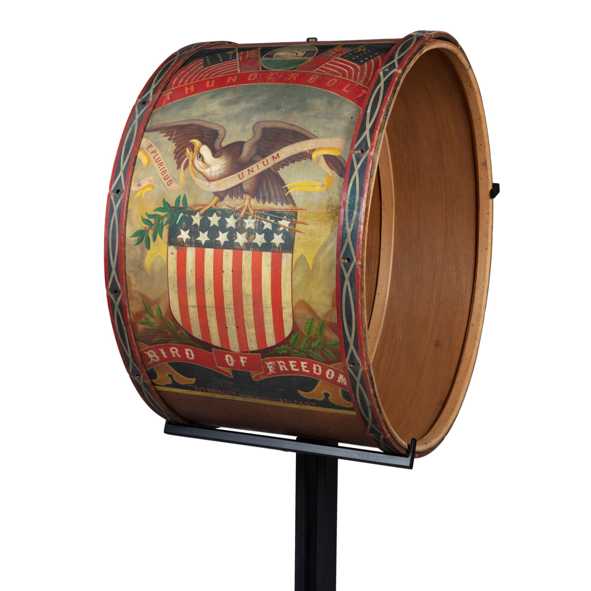 EXCEPTIONAL POLYCHROME PAINT-DECORATED WOODEN CIVIL WAR PARADE DRUM, WILLIAM BRIDGET, BELFAST, MAINE, CIRCA 1860