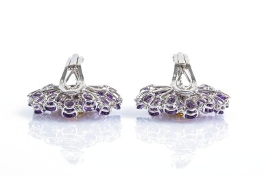 View 4. Thumbnail of Lot 67. Pair of amethyst, citrine and diamond ear clips, Michele della Valle.