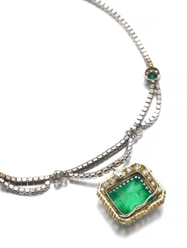 View 3. Thumbnail of Lot 163. EMERALD AND DIAMOND NECKLACE.