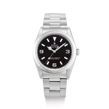 "ROLEX  |  EXPLORER, REFERENCE 14270  A STAINLESS STEEL WRISTWATCH WITH BRACELET, RETAILED BY VAN CLEEF & ARPELS, CIRCA 1995"" | 勞力士 | Explorer 型號14270 精鋼鏈帶腕錶,由Van Cleef & Arpels發行,錶殼編號W861488,約1995年製"""