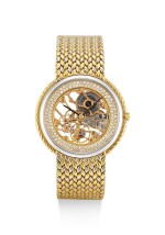 GERALD GENTA   REFERENCE G1387, A TWO-TONE GOLD AND DIAMOND-SET SKELETONIZED BRACELET WATCH, CIRCA 2000