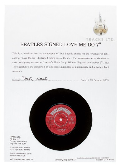 View 4. Thumbnail of Lot 8. THE BEATLES | Love Me Do, 1962, first pressing, signed by all four Beatles.