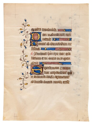 View 4. Thumbnail of Lot 1. Nine manuscript leaves, mostly 15th century, from books of hours and prayerbooks, on vellum.