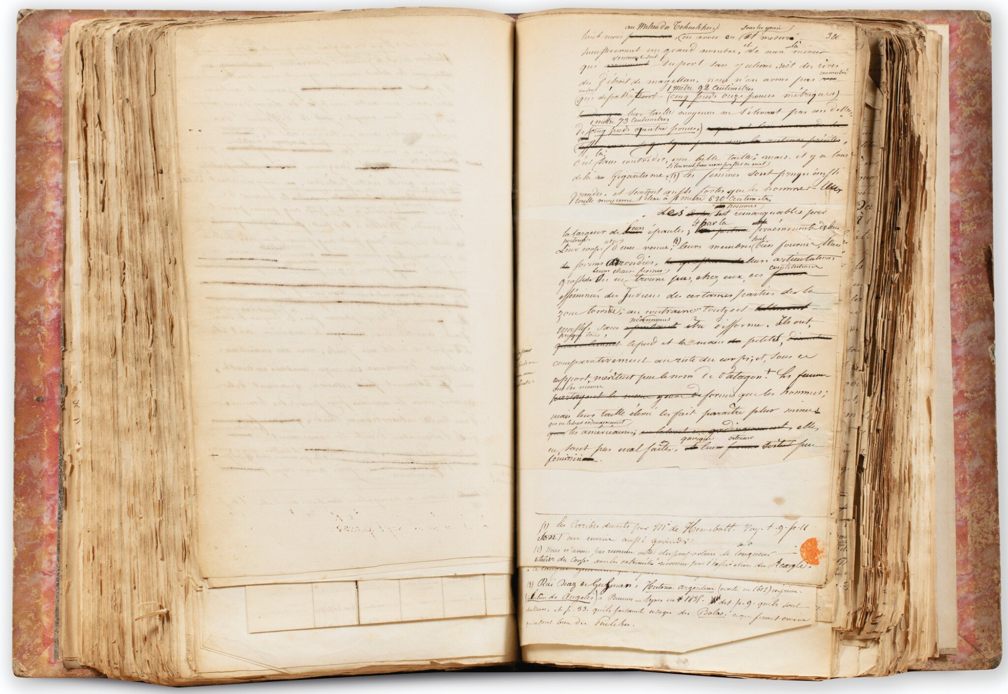 View full screen - View 1 of Lot 141. ORBIGNY. L'Homme américain. Manuscrit autographe. [Vers 1838]. Fort in-4, demi-chagrin rouge. 550 p..