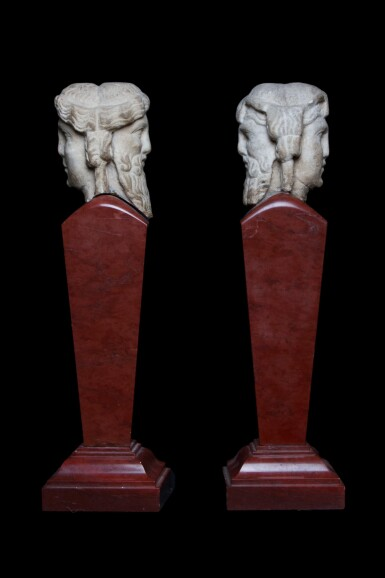 View 2. Thumbnail of Lot 97. Two Roman Marble Janiform Herm Heads, circa 2nd century A.D., mounted as a pair on red marble shafts, probably in the 19th Century, circa 1st Century A.D..