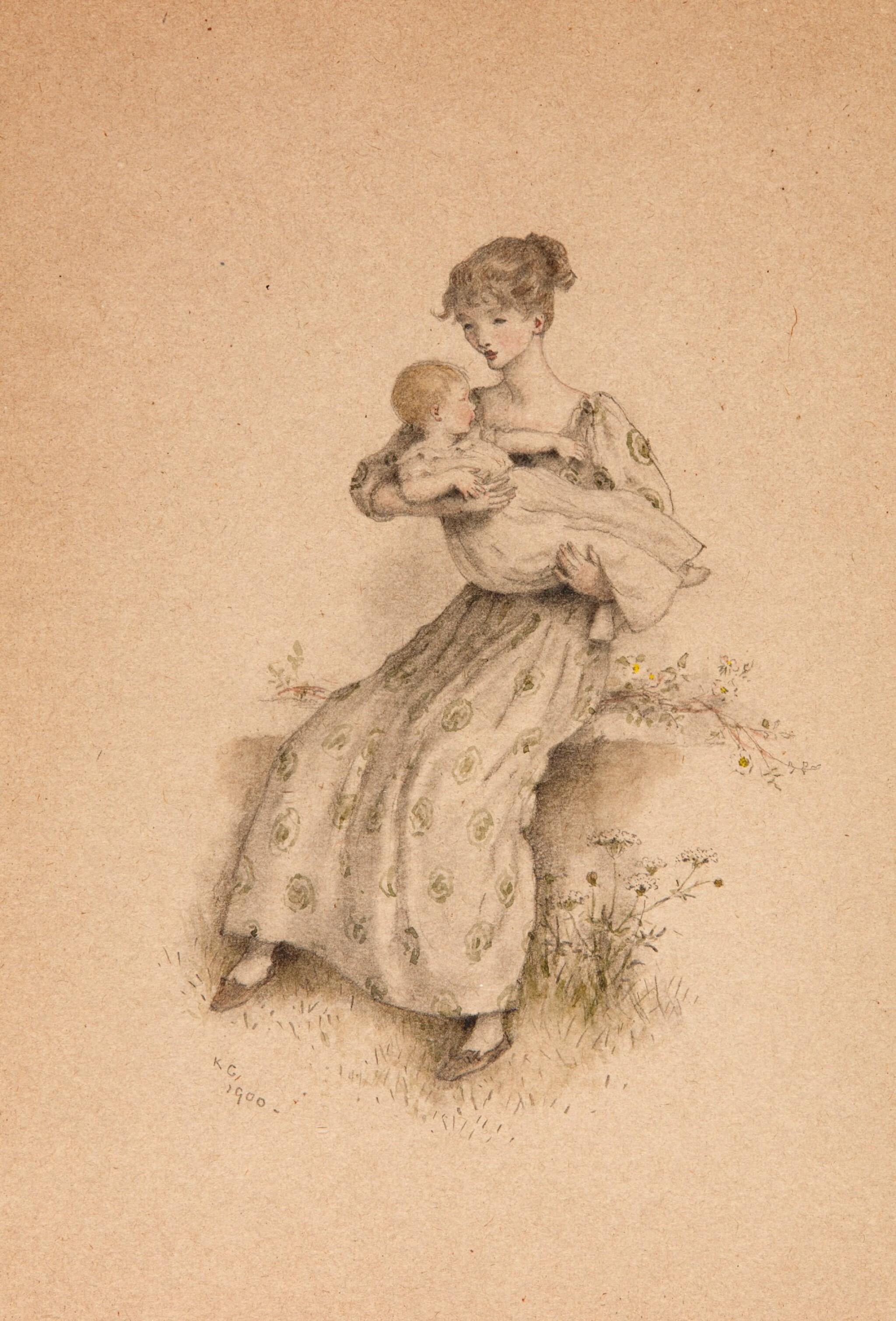 View full screen - View 1 of Lot 76. GREENAWAY   Mother with Child in Arms, pencil and watercolour drawing, 1900.
