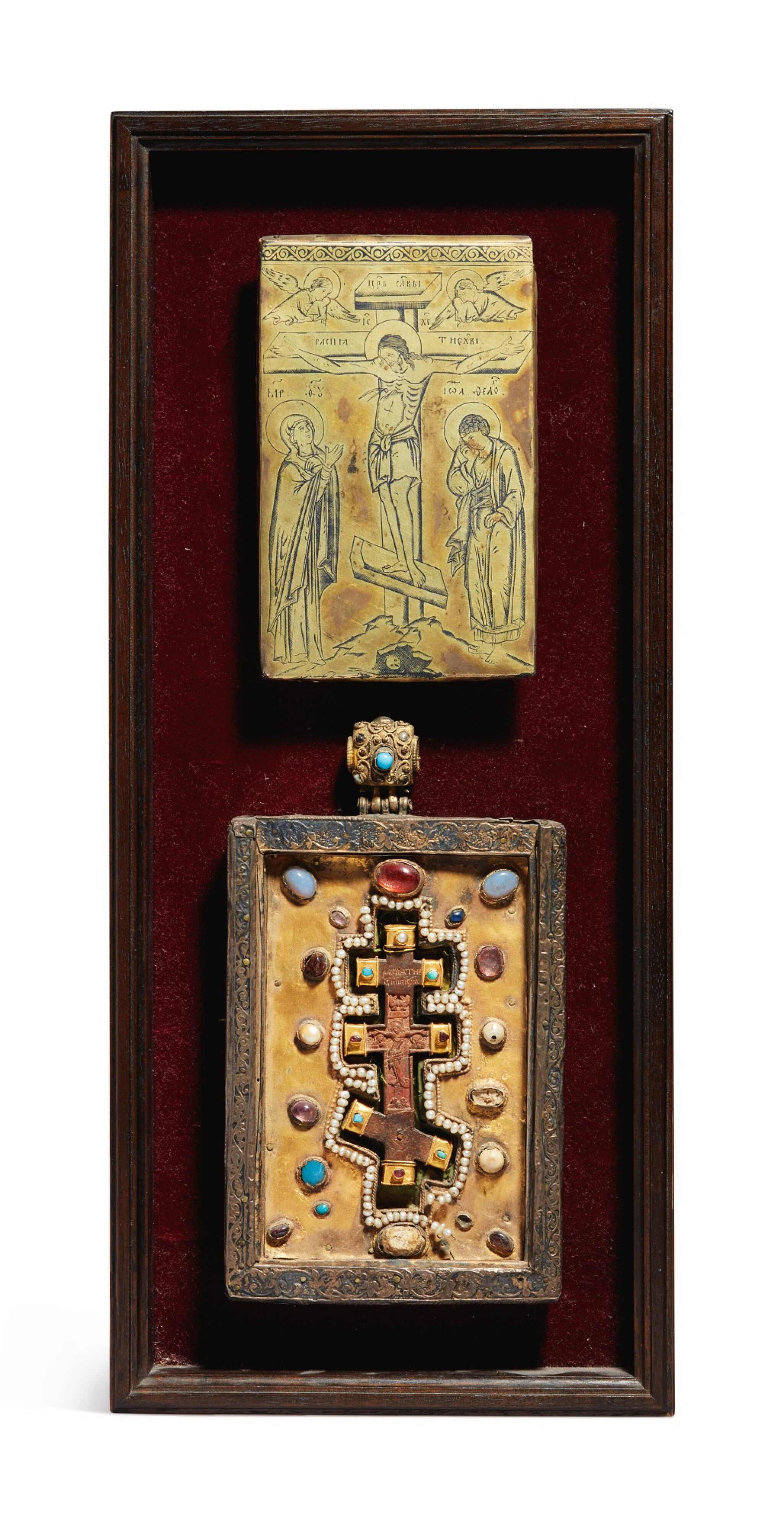 View full screen - View 1 of Lot 803. Plaques with the Crucifixion and a Cross from Mt. Athos.