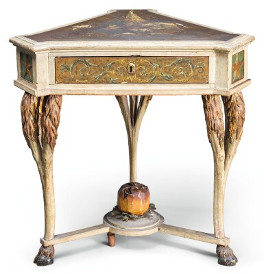 AN UNUSUAL NORTH ITALIAN PAINTED CENTRE TABLE, LATE 18TH/EARLY 19TH CENTURY