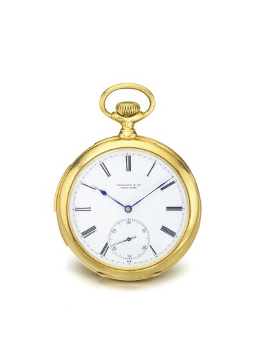 PATEK PHILIPPE | RETAILED BY TIFFANY & CO.: A YELLOW GOLD OPEN FACED FIVE MINUTE REPEATING WATCH CIRCA 1892-1985