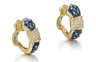 View 2. Thumbnail of Lot 9124. PAIR OF SAPPHIRE AND DIAMOND EAR CLIPS, TIFFANY & CO. | 藍寶石 配 鑽石 耳環一對, 蒂芙尼 ( Tiffany & Co. ).