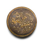 A PARCEL-GILT TIERED SILVER BOX AND COVER YUAN/MING DYNASTY | 元/明 銀局部鎏金高士圖雙層圓蓋盒