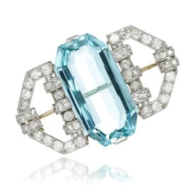 View 1. Thumbnail of Lot 118. Aquamarine and diamond brooch, 1930s.