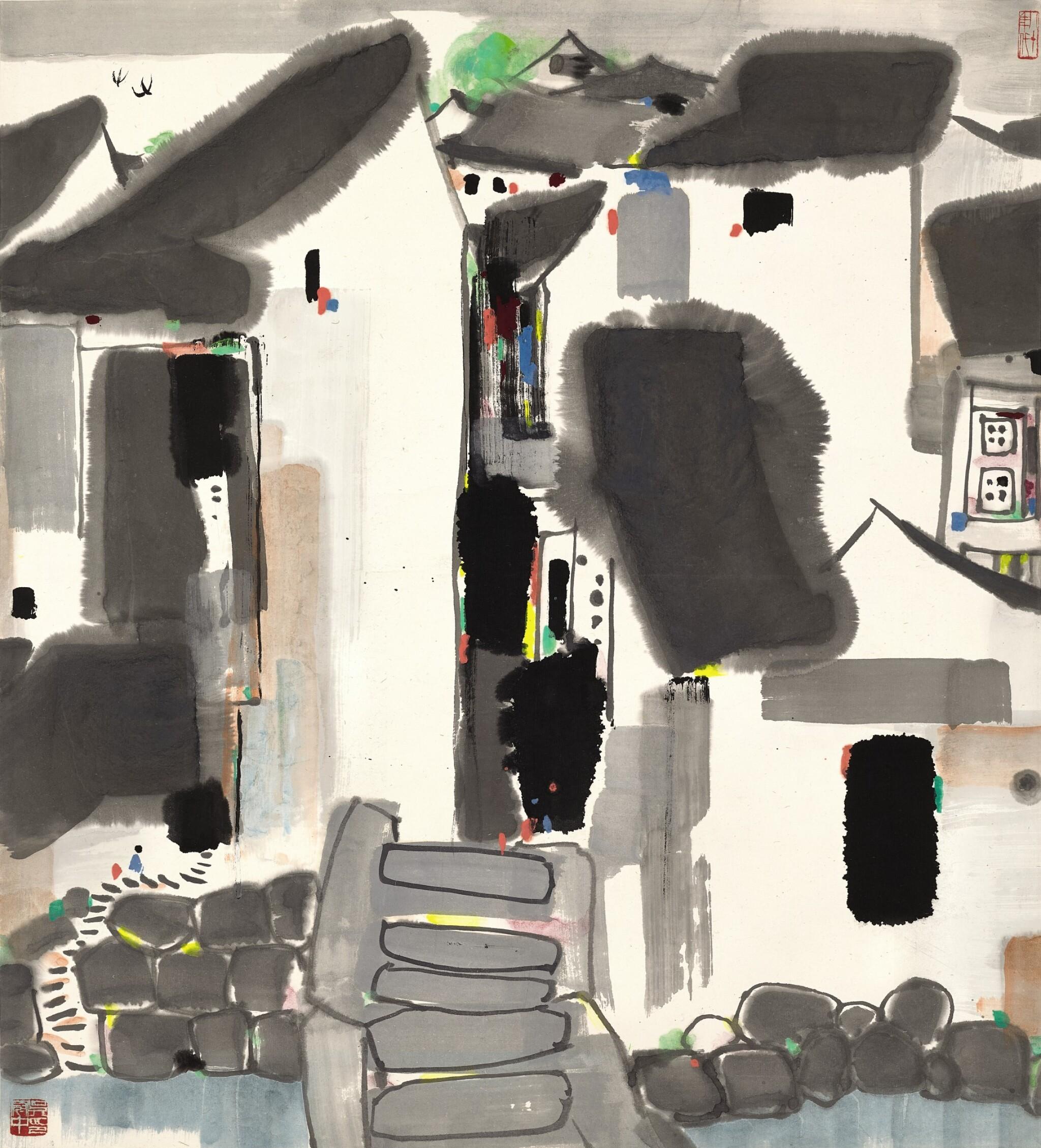 View full screen - View 1 of Lot 3062. WU GUANZHONG 吳冠中   VILLAGE SCENERY 鄉鎮小橋多.