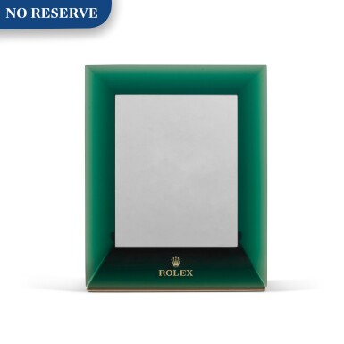 View 1. Thumbnail of Lot 728. GREEN PERSPEX RECTANGULAR MIRROR WITH HINGED STAND.