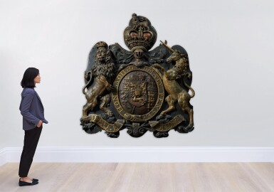 View 6. Thumbnail of Lot 59. A CARVED PARCEL-GILT AND POLYCHROME ROYAL COAT-OF-ARMS OF HM KING GEORGE III, ENGLISH, CIRCA 1801-1816.