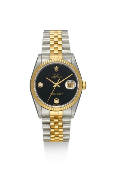 ROLEX | DATEJUST, REFERENCE 16233, A STAINLESS STEEL, YELLOW GOLD AND DIAMOND-SET WRISTWATCH WITH DATE, ONYX DIAL AND BRACELET, CIRCA 1997