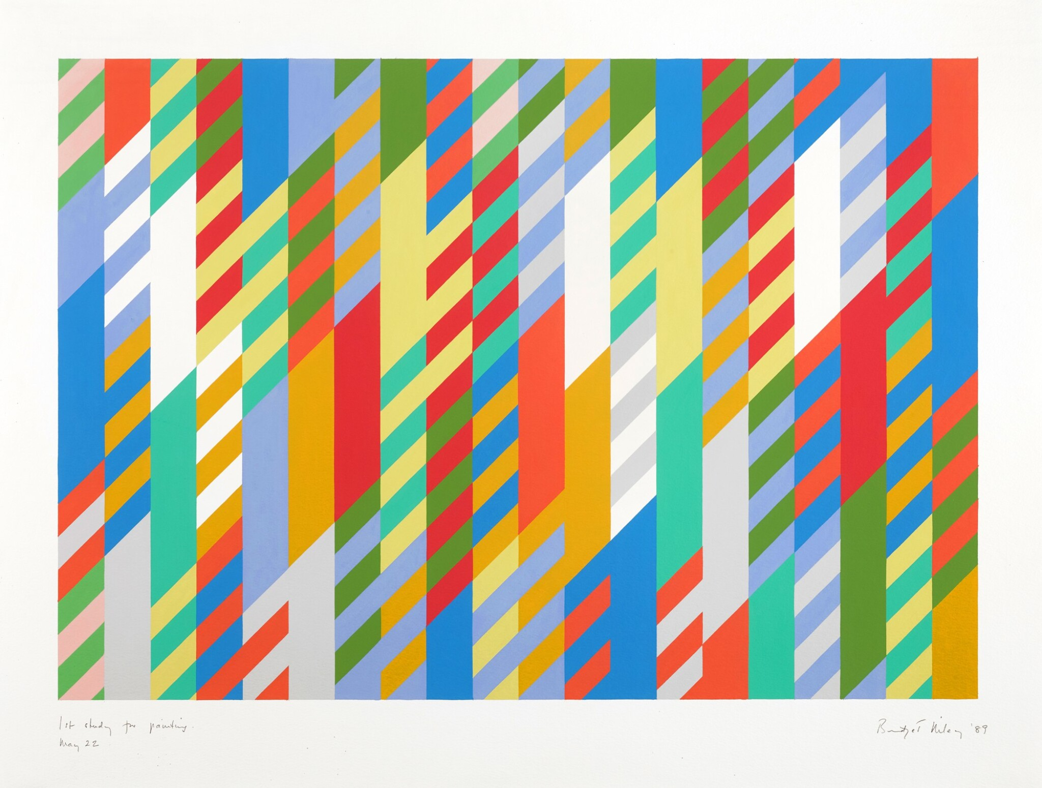View full screen - View 1 of Lot 210. BRIDGET RILEY | 1ST STUDY FOR PAINTING.