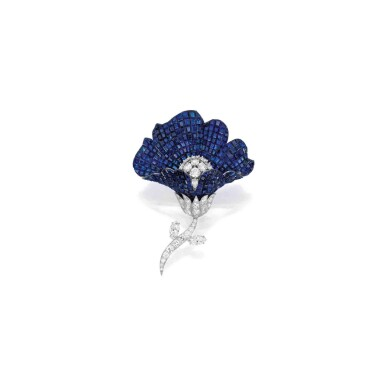 View 1. Thumbnail of Lot 62. Van Cleef & Arpels [梵克雅寶] | Mystery-Set Sapphire and Diamond Brooch [藍寶石配鑽石別針].