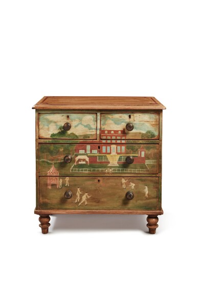 View 2. Thumbnail of Lot 1497. PAINT-DECORATED PINE CHEST OF DRAWERS, 19TH CENTURY.