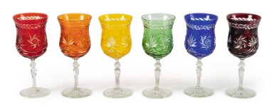 A BOHEMIAN HARLEQUIN SUITE OF COLORED AND CUT WINE GLASSES, LATE 19TH/ 20TH CENTURY