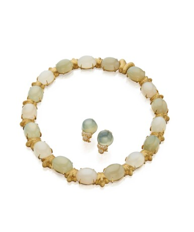 View 1. Thumbnail of Lot 45. GOLD AND MOONSTONE NECKLACE AND PAIR OF MOONSTONE AND DIAMOND EARCLIPS, HENRY DUNAY.