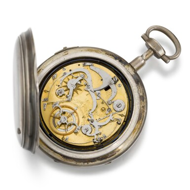 View 2. Thumbnail of Lot 284. SWISS | A SILVER OPEN-FACED QUARTER REPEATING BRAS-EN-L'AIR WATCH WITH JACQUEMARTS, CIRCA 1790.
