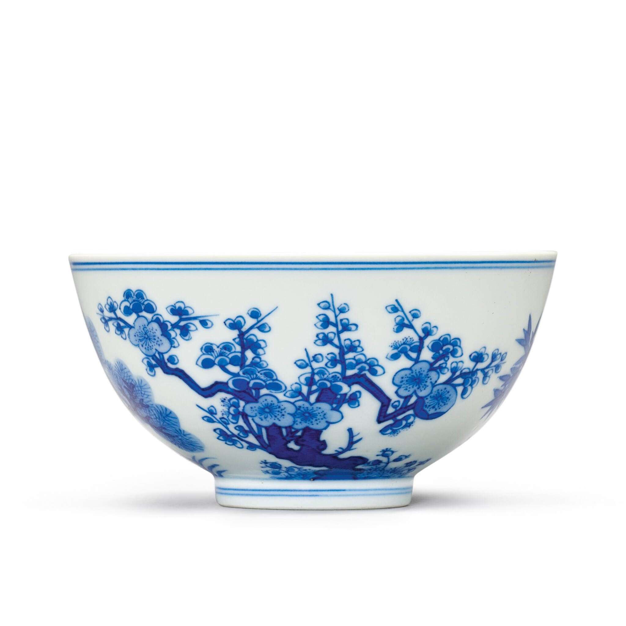 A FINE BLUE AND WHITE 'THREE FRIENDS' BOWL SEAL MARK AND PERIOD OF DAOGUANG | 清道光 青花歲寒三友盌 《大清道光年製》款