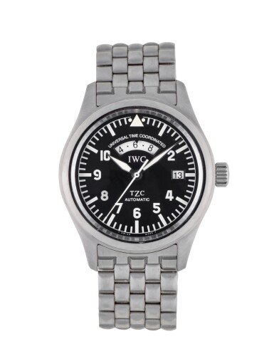 IWC | DIE FLIEGERUHR UTC, REF 3251 STAINLESS STEEL DUAL TIME ZONE WRISTWATCH WITH DATE AND BRACELET CIRCA 2000